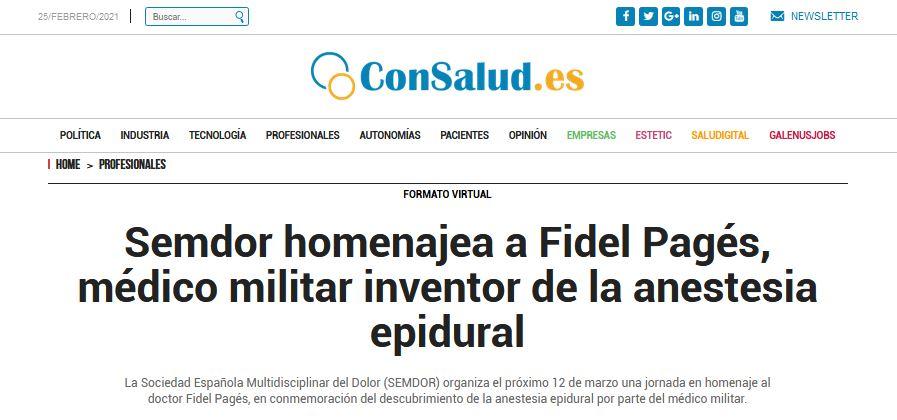 Homenaje a Fidel Pagés en Consalud.es