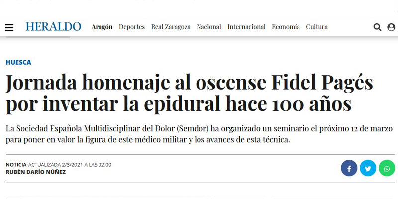 Homenaje a Fidel pagés en El Heraldo